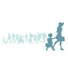 silhouette of mother and daughter traveling with vector image