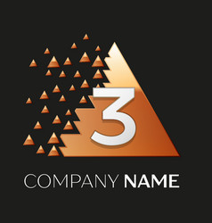 Silver number three logo in pixel triangle shape vector