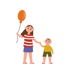 Sister with balloon holding her little brothers vector