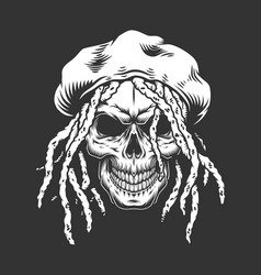 skull with rastaman hat and dreadlocks vector image