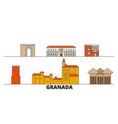 spain granada flat landmarks vector image