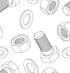 Stainless steel bolt and nut seamless wallpaper vector image