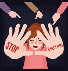 stop bullying child abuse girl sad victim scared vector image