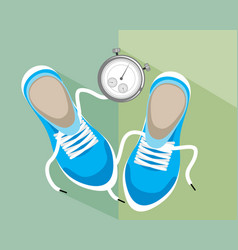 stopwatch and sneakers vector image