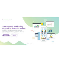 strategy and monitoring of gains in financial vector image