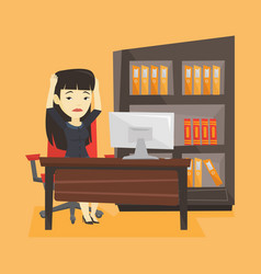 Stressed employee working in office vector