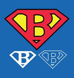 Superhero logo icon with letter b ou vector