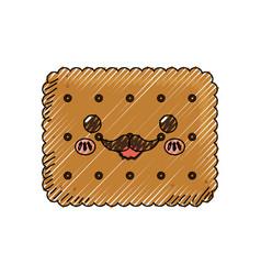 sweet cookie dessert kawaii cute cartoon vector image