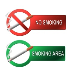 The sign no smoking and smoking area vector image