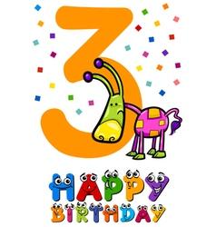 Third birthday card design vector