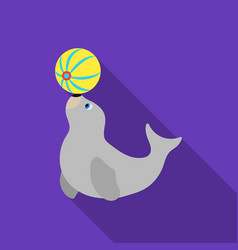 Trained fur seal icon in flat style isolated on vector