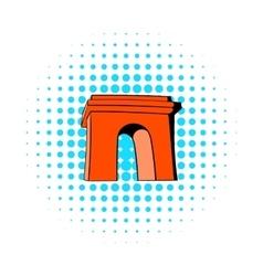 Triumphal arch Paris icon comics style vector