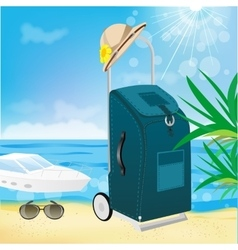 Trolley suitcase with a sun hat vector
