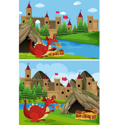 two scenes with red dragon guarding treasure vector image