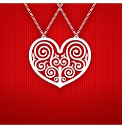Valentines Day Heart on Red Background vector image