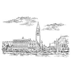 Venice skyline hand drawing st vector