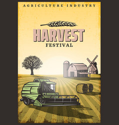 Vintage colored harvesting poster vector