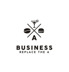 vintage retro burger cafe bar restaurant logo vector image
