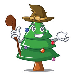 Witch christmas tree character cartoon vector