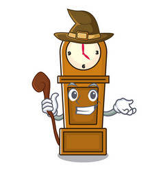 Witch grandfather clock mascot cartoon vector