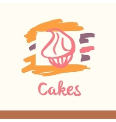 with stylized cakes dessert sweet vector image