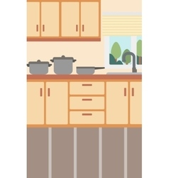 Background of kitchen with kitchenware vector image vector image