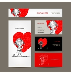 Business cards design girl draws red heart vector
