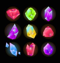 crystals or gemstones and precious gem stones vector image vector image