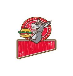 Donkey Mascot Serve Burger Rectangle Retro vector image