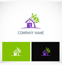 house tree garden environment logo vector image
