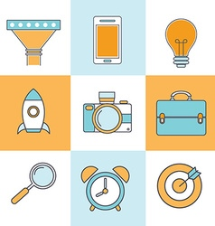 Line icons with flat design elements of customer vector image