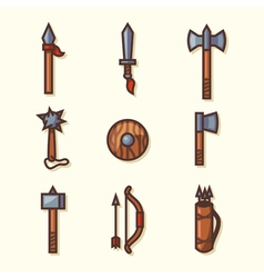 Medieval weapons icons vector image