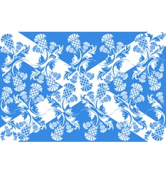 Scottish flag with ornaments of flowers thistle vector