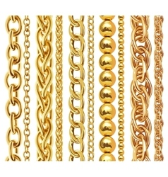 Set of realistic golden chains vector image
