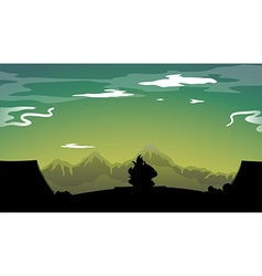 Silhouette campfire vector image