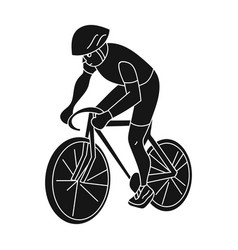 an athlete with a helmet riding his bike on the vector image vector image