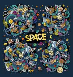 doodles cartoon set of space designs vector image