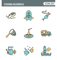 Icons line set premium quality of fishing business vector image vector image