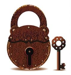 rusty padlock and key vector image
