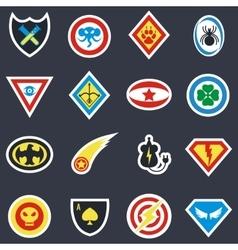 Superhero color badges emblems logos vector image vector image