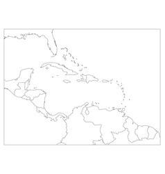 central america and carribean states political map vector image vector image