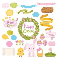 Happy Easter set with cartoon cute bunny chicken vector image