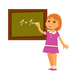 little redhead girl solves mathematical example at vector image