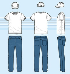 T-shirt and jeans set vector image vector image