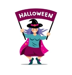 Halloween Witch with festive banner vector image vector image