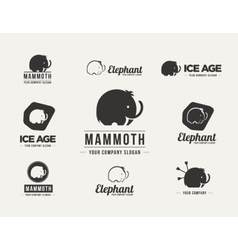 Mammoth silhouette badges set vector image