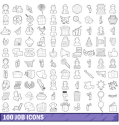 100 job icons set outline style vector