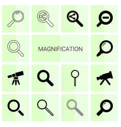 14 magnification icons vector image