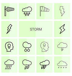 14 storm icons vector image