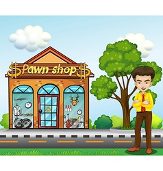 A businessman standing in front of the pawnshop vector